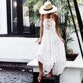 Las mujeres Del Verano Correa de Espagueti Blanco Isla Bonita Bordado de Lujo Vestido de Encaje de Ganchillo Vestido de Deslizamiento