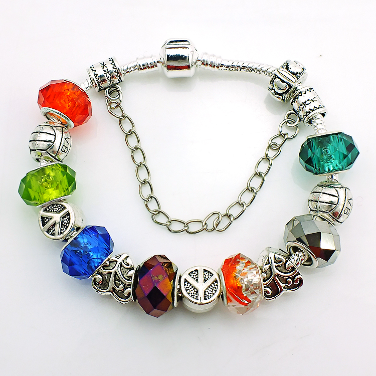 JINGLANG High Quality European Style Silver Plated Pan Charm Bracelets For Men With Glass Beads Bracelets Jewelry SL5463