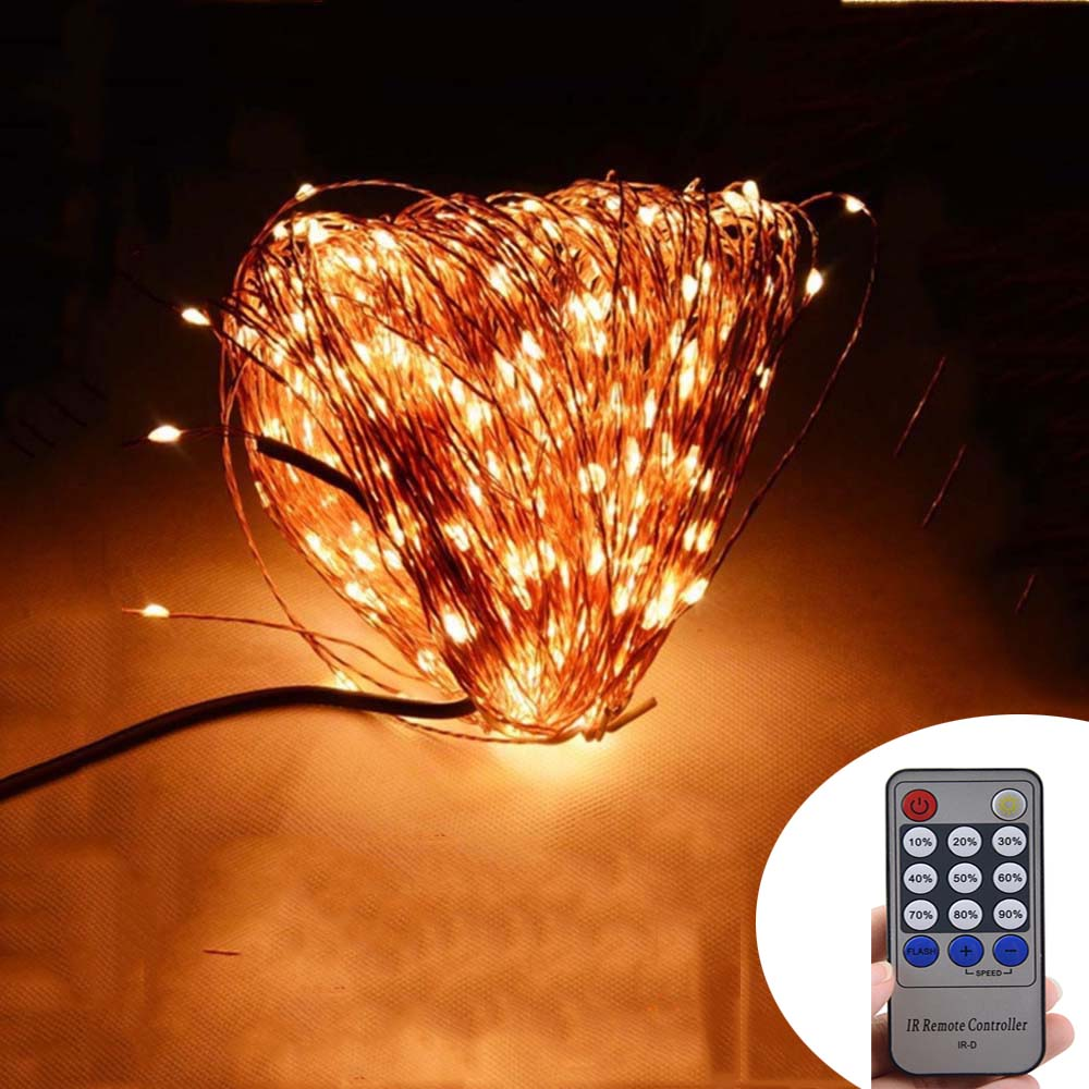 Remote Control + 50M 165Ft 500 LEDs Copper Wire Warm White LED String - Holiday Lighting