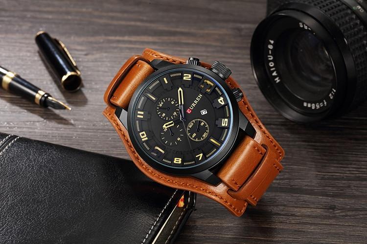 HTB1t4D9cBCw3KVjSZFlq6AJkFXah CURREN Top Brand Luxury Mens Watches Male Clocks Date Sport Military Clock Leather Strap Quartz Business Men Watch Gift 8225