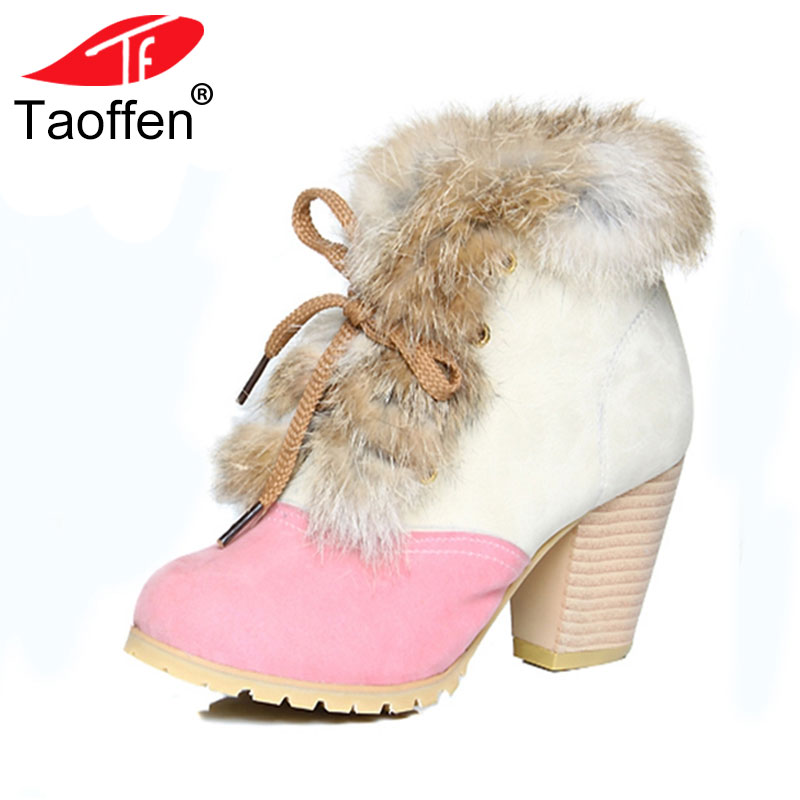 Size 34-45 Women Snow Boots Winter Warm Thick Fur Shoes Vintage Lace Up High Heels Rubber Sole Ankle Boots Shoes Woman цена