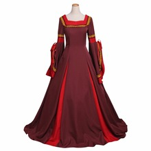 Custom Made Women's Dark Red Dress Costume Cosplay Victorian Medieval South Manor Dress Costume Cosplay for Carnival Party