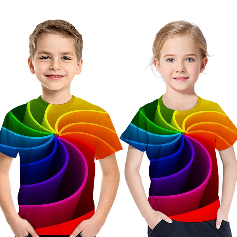 T-Shirt Boy Rainbow Clothing Neck-Tops Girl Short-Sleeved Fashion Children's Summer New