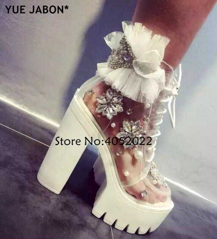 Wit vrouw diamant platform schoenen transparante handgemaakte strass parel lace up platform dikke hak vrouw enkel laarzen herfst-in Enkellaars van Schoenen op  Groep 1