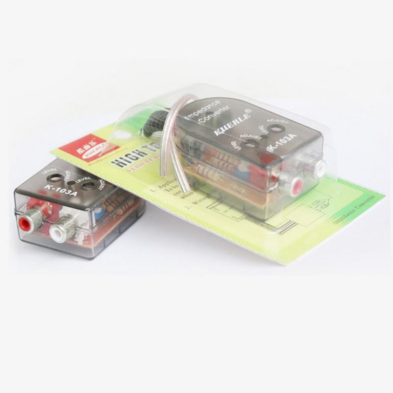 12V Universal RCA Line Mobil Subwoofer Stero Radio Converter Speaker Tinggi Ke Rendah Mobil Penguat Audio Impedansi Converter R30 title=