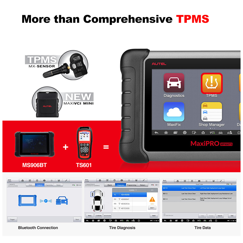 Image 3 - Autel MaxiPRO MP808TS OBDII Car Automotive Diagnostic Tool OBD2 Scanner OBD 2 Code Reader as DS808 Add TPMS Functions PK MS906-in Engine Analyzer from Automobiles & Motorcycles