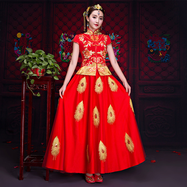 Summer Peacock Chinese Women Wedding Cheongsam Stage Show Clothing