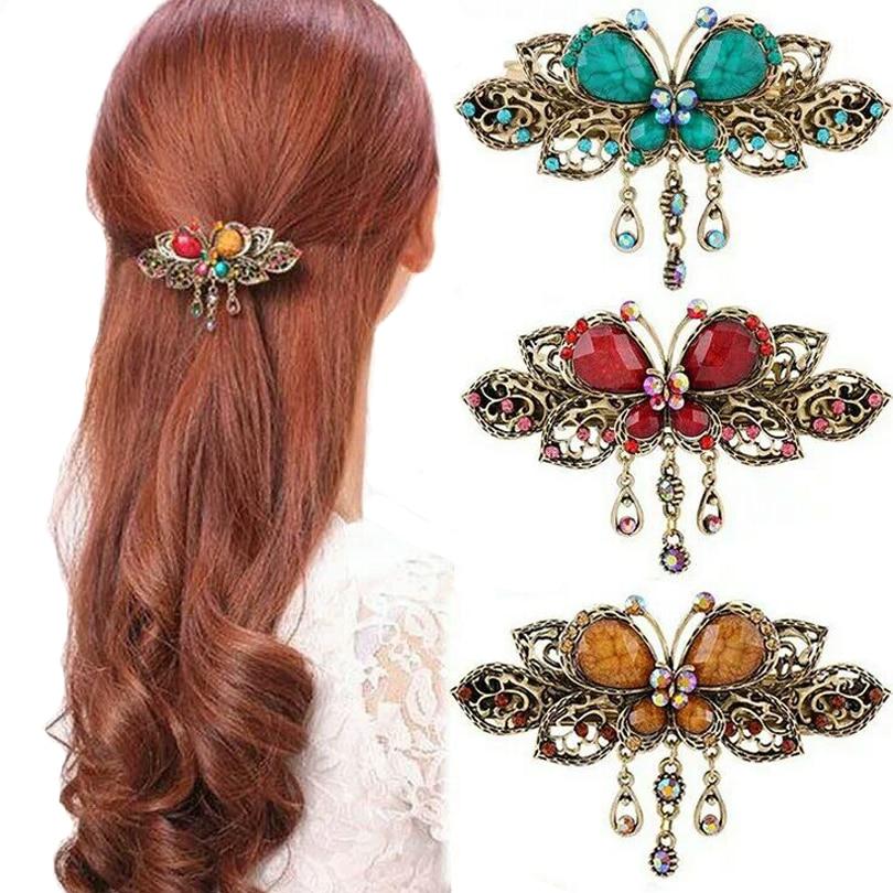Haimeikang Vintage Women Turquoise Butterfly Flower Tassel Hairpins Hair Clip Crystal Butterfly Bow Hair Clip Hair Accessories