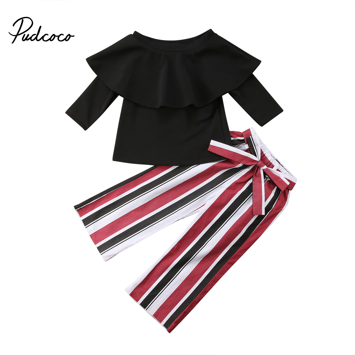 Long Sleeve Tops Blouse Striped Long Pants Fashion Outfit Toddler Kids Child Baby Girls Off Shoulder Ruffle Clothing Sets 1-6T