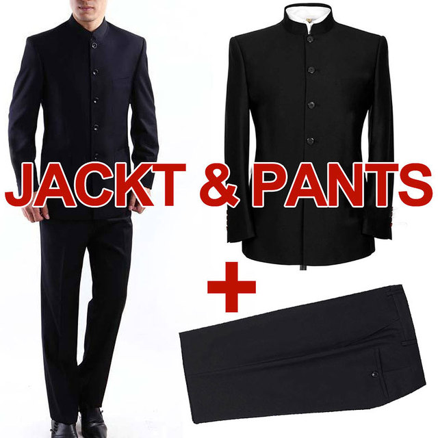 MYDBSH Brand Men Suits Big size Chinese Mandarin Collar Male Suit Slim Fit Blazer Wedding Terno Tuxedo 2 Pieces Jacket & Pant 2