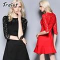 JRQIOT  2016 New Autumn Fashion Dress A-Line Solid Full Mid-Calf Regular O-Neck Natural Casula Lace Dresses Vestir