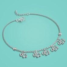 Mujer 925 tobilleras de plata esterlina, colgante Lindo del perrito diseño Pero alergias cadena de pie de plata de longitud 27 cm, regalo de cumpleaños para la muchacha