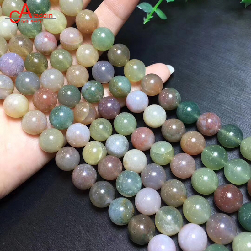 Aladdin 8/10/12MM AAAA+ Indian Agat Stone Aquamarin Crystal Quart Round Beads for DIY jewelry Making Bracelet Necklace Gift