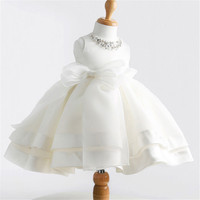 Girls Dress High Grade Beaded White Princess Dress S Collar Flower One Generation