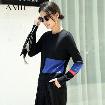 df1e634b075 Amii минимализм лоскутное свитер для женщин осень 2019 повседневные  однотонные с длинным рукавом 100% хлопок удобные зимние вязаный пуловер
