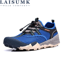LAISUMK Breathable Outdoor Men Casual Shoes Fashion Air Mesh Shoe Hollow Thick Base Tide Light Net Hole shoes Quick Dry