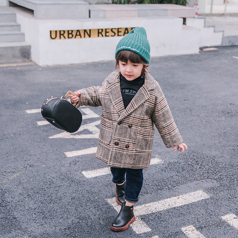 Children's quilted plaid coat boy's jacket child 2018 autumn and winter blouse boy thickening foreign coat laundry by shelli segal quilted leather jacket