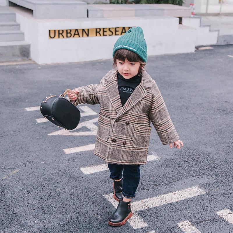 Diplomatico Per Bambini Plaid Trapuntato Cappotto Del Ragazzo Giacca Bambino 2018 Autunno E In Inverno Camicetta Ragazzo Di Ispessimento Del Cappotto Estero