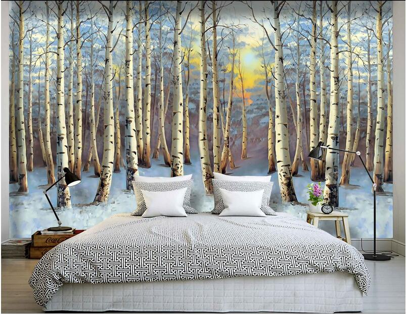 3d Wallpaper Custom Mural Non Woven 3d Room Wallpaper Hd The Sunset Image Poplar Trees Painting