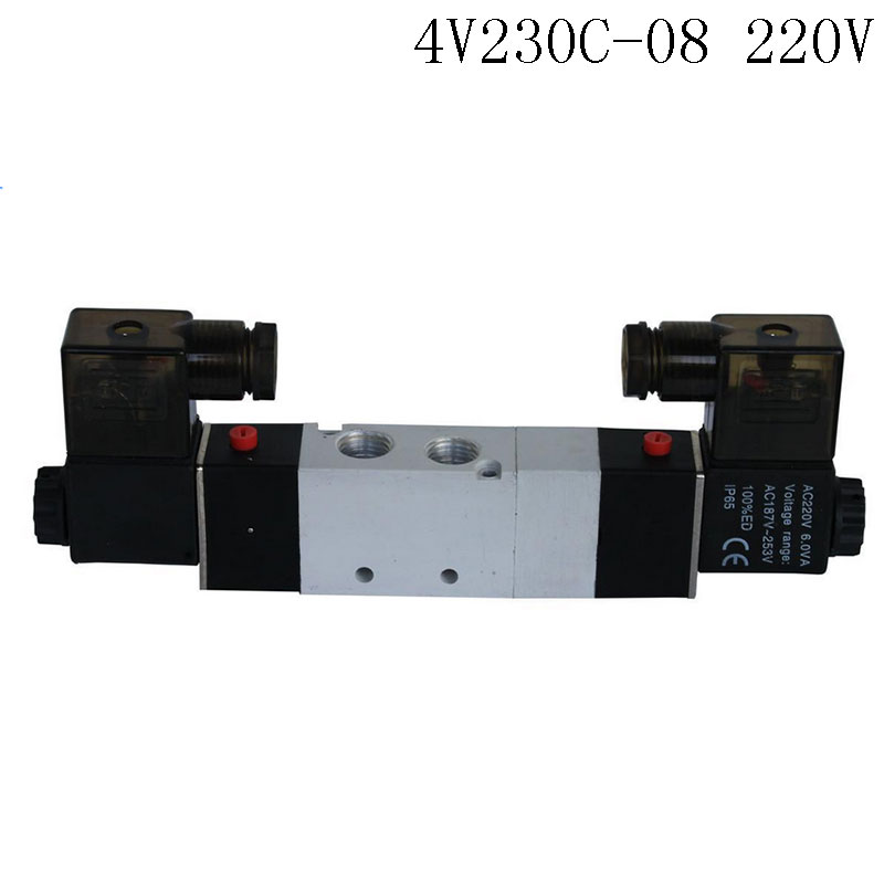 Pnematic Solenoid Valve 5/3 5 Way 3 Position 1/4 BSP 4V230C-08 Double Coil Center Closed LED Light  AC220v pnematic solenoid valve 5 3 5 way 3 position 1 4 bsp 4v230c 08 double coil center closed led light ac110v