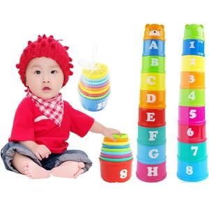 Image 2 - 8 Uds juguetes educativos para bebés 6 meses + figuras letras Foldind vaso apilable Tower niños inteligencia temprana