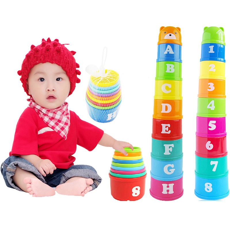 8PCS Educational Baby Boy Infant Toys 6Month+ Figures Letters Foldind Stack Cup Tower Children Early Intelligence