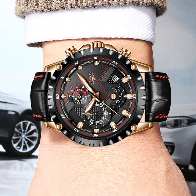 Mens Watches Top Brand Luxury Quartz Gold Watch Men Casual Leather Military Waterproof Sport Wrist Watch 4