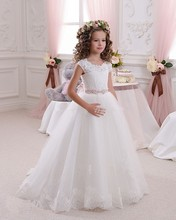 2016 Lace A-Line Flower Girl Dresses Lovely Beading Short Sleeve First Communion Gowns For Girls 2016 Cheap Girls Pageant Dress skyyue girl pageant dress appliquie lace flower tulle flower girl s dresses for wedding o neck bow communion gowns 2019 dk2918