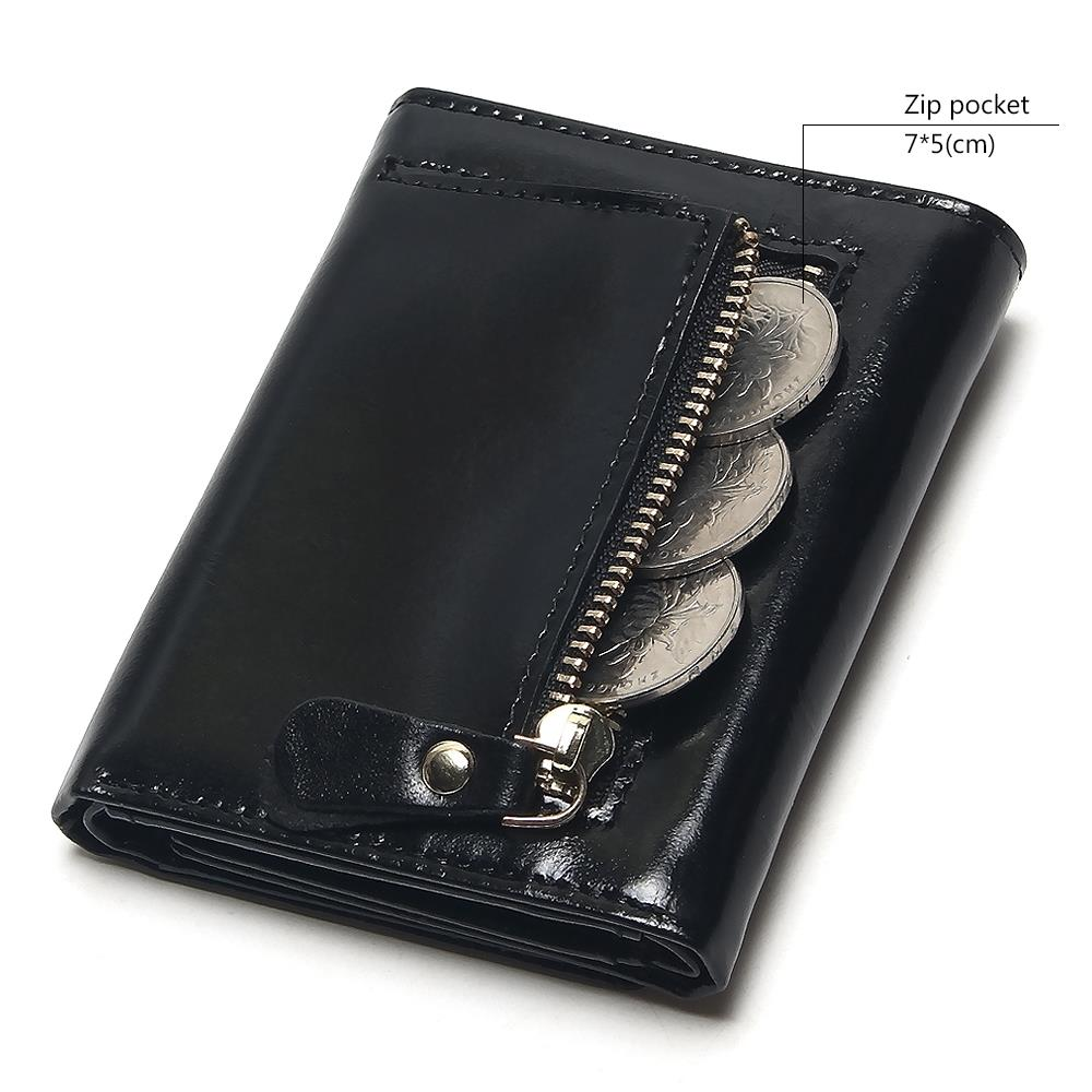 TAUREN Oil Wax Leather Wallet Female Wallets With Zipper Coin Bag Genuine Leather Women Wallets Small Short Purses For Female in Wallets from Luggage Bags