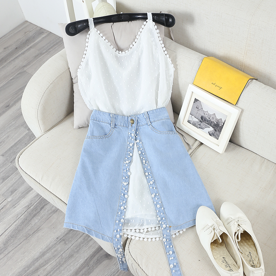 Summer Women Suspenders Dress+Skirts Sets Chiffon Straps Dresses and Denim Jeans Pearls Split ...