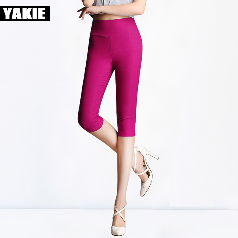 2017 Hot Sale Fashionable Women Leggings High Waist Solid Ladies Pencil Pants capris female candy color Plus size 4XL 5XL 6XL