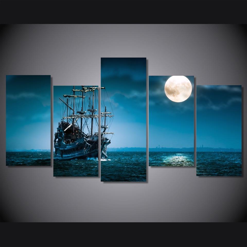 Unframed Canvas Painting 2017 Fantasy Ship Boat Art Ocean