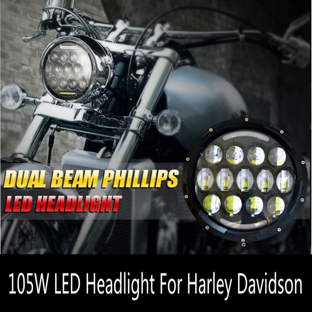 7 INCH Round LED Headlight Projector Daymaker H/L DRL for Harley Davidson Motorcycle 105W Headlamp