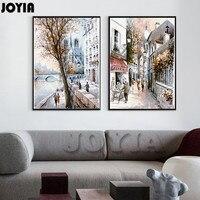 Soyut Sokak Tuval Sanat Boyama Kroki Avrupa Paris Şehir Manzarası Baskı Tarzı Yağlıboya Dekor Resim 2 Panelleri Hiçbir Çerçeve