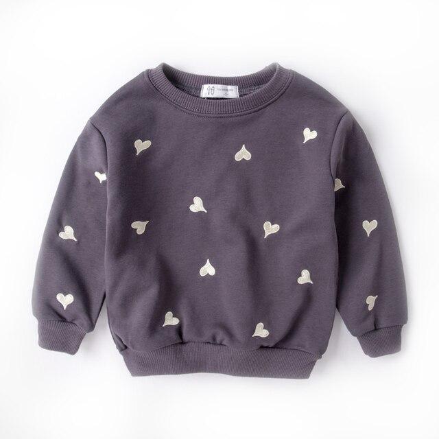 Детская одежда для девочек топы Толстовка и толстовки для девочек в форме сердца вышивка весна и осень детская одежда