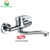 SPRING SUMMER Wall Mounted Kitchen Faucet Mixers Kitchen Sink Tap 360 Degree Swivel Holes