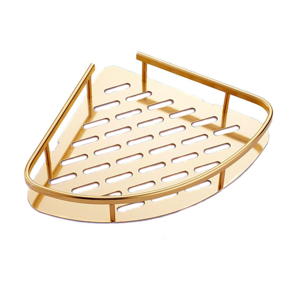 Bathroom Corner Basket Aluminum Gold Shelf Shampoo Triangle Shelves Wall Mounted Soap Etagere Tipi Salle De Bain Murale Douche
