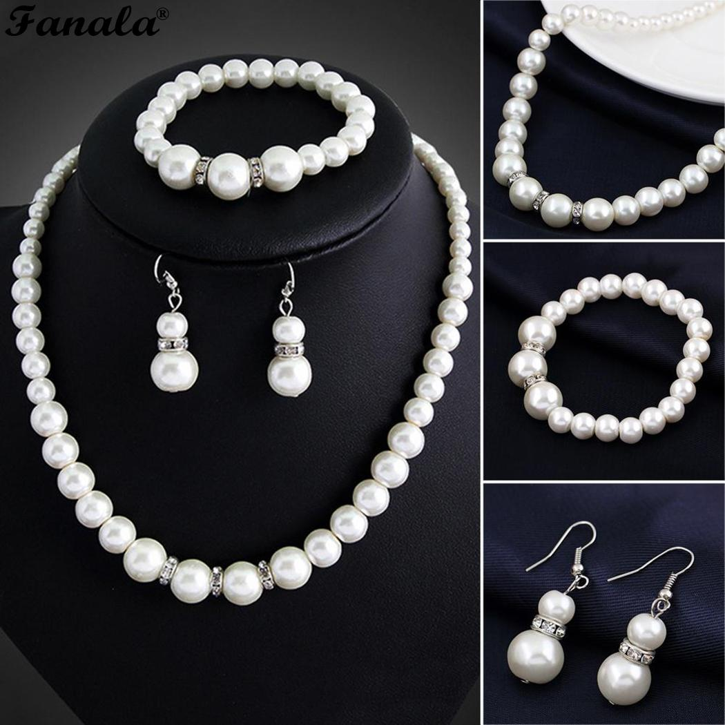 Earrings Stretch Women Imitation Jewelry Set Pearls Bracelet Necklace Rhinestone