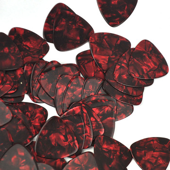 Lots of 100 pcs Rounded Triangle Heavy 0.96mm Celluloid Guitar Picks Red Pearl