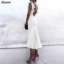 Xnxee 2018 New Style Summer Women Dress Sexy White Sleeveless Patchwork Ruffles Black Bodycon Party Clubwear Fashion