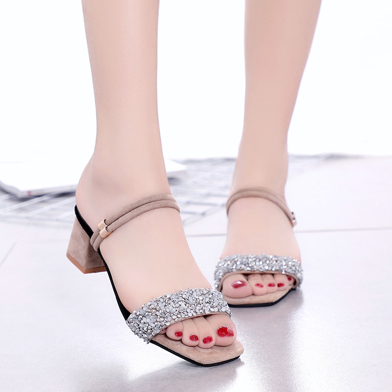 2019 summer new women's high heel sandals Korean rhinestone sequins thick with sandals(China)