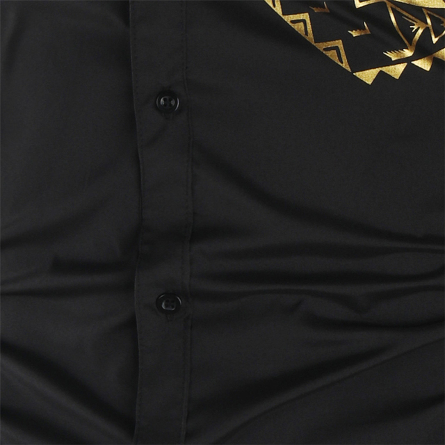 Luxury Gold Black Shirt Men New Slim Fit Long Sleeve Camisa Masculina Gold Black Chemise Homme Social Men Club Prom Shirt 4