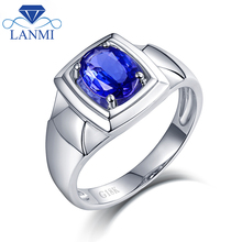 Natural Tanzanite Anniversary Men's Ring Real Solid 18K White Gold Simple Design  Husband Christmas Fine Jewelry Gift Wholesale