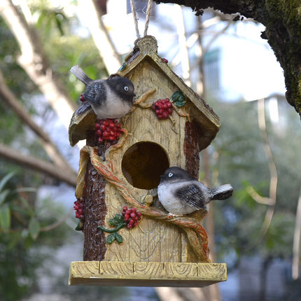 Rural Resin Magpie Bird 39 S Nest Hanging Pieces Bird House