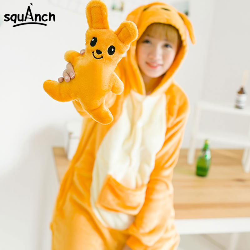 Kangaroo Kigurumis Orange Cartoon Animal Onesie Women Girl Adult Couple Pajama Winter Party Cute Funny  Flannel Warm Jumpsuit
