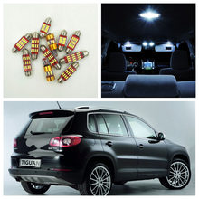 12 piezas Super Canbus Error blanco libre bombillas LED Kit de paquete Interior para 2009-2015 Volkswagen Tiguan mapa luz VW-C-18(China)