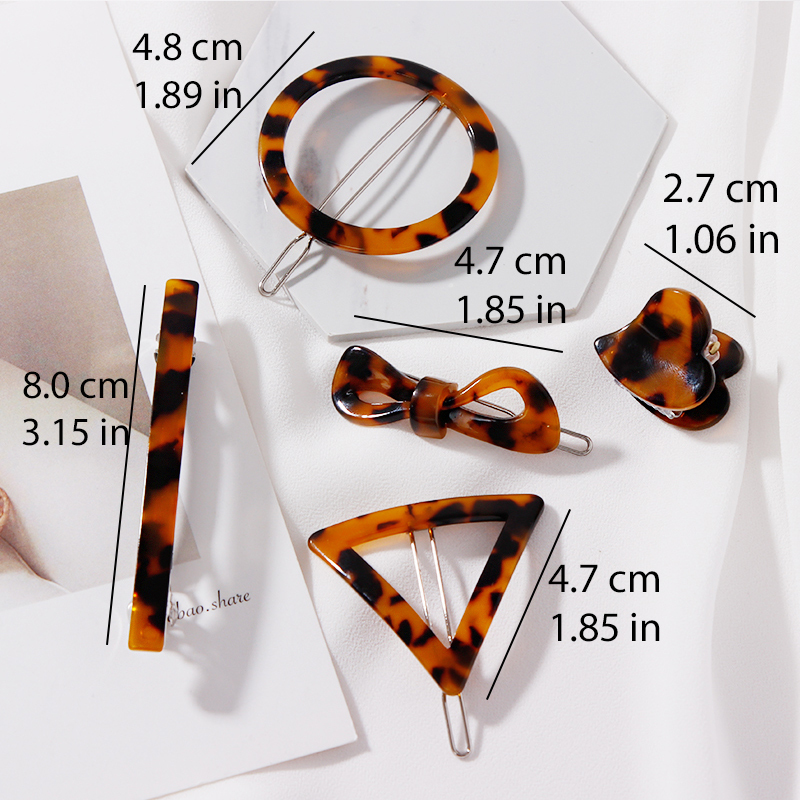 2019 New Women Acetate Leopard Print Round Triangle Bow Simple Hairpin Barrette Lady Hair Clip Headband Fashion Hair Accessories