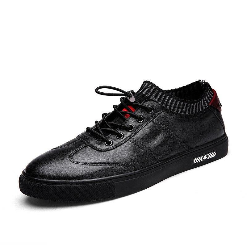 Eu36-50 hommes femmes haut de grande taille couche en cuir baskets en plein air personnalité tricot chaussettes sport marche équitation chaussures plates
