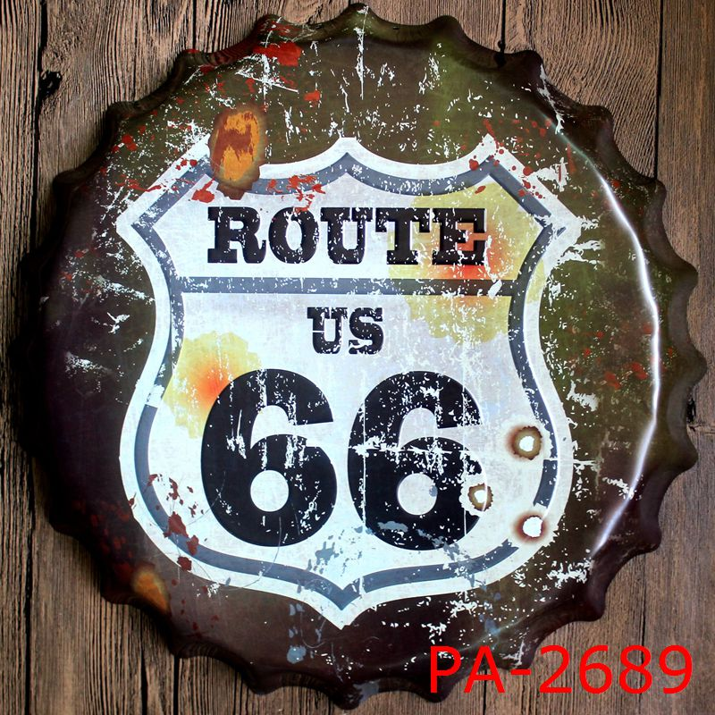 usa route 66 road bottle cap cap decorative metal plate plate plaque vintage pub wall art. Black Bedroom Furniture Sets. Home Design Ideas