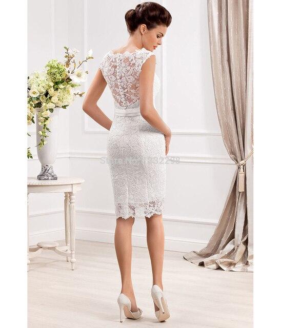 3ac442a1ff Elegante pura Scoop escote de encaje vestidos de Novia por encargo vestidos  cortos de la boda